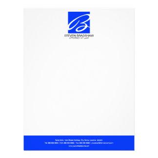 Professional Monogram Blue Letterhead