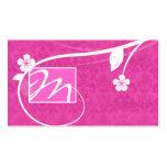 Professional Monogram Business Card Floral Pink