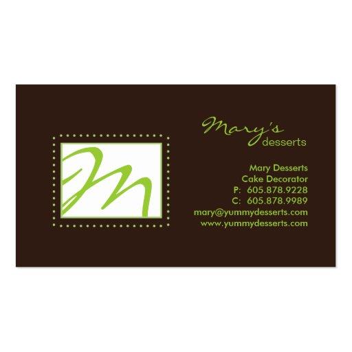 Professional Monogram Business Card Green Brown
