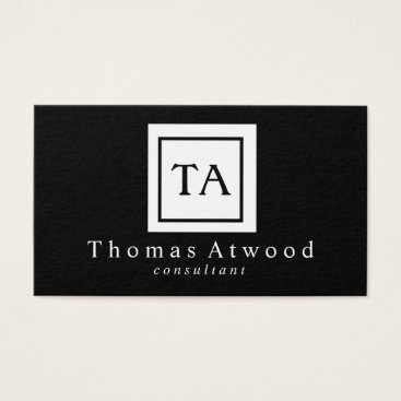 Professional Business Professional Monogram Business Cards Black White