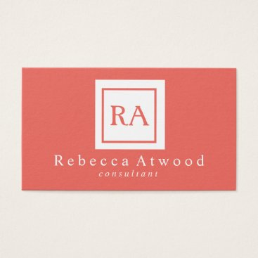 Professional Business Professional Monogram Business Cards Coral