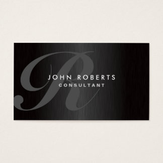 Professional Monogram Elegant Modern Brushed Metal Business Card