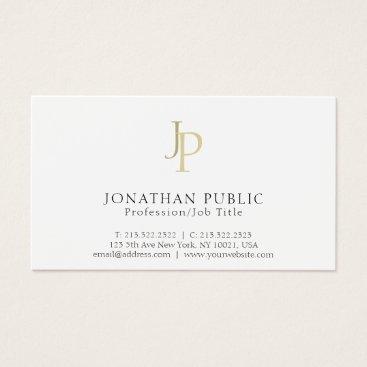 Professional Monogram Modern Classy White Business Card