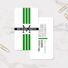 Professional Monogram Modern Green Stripes Business Card