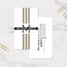 Professional Monogram Modern Grullo Stripes Business Card