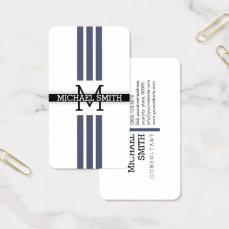 Professional Monogram Modern Independence Stripes Business Card