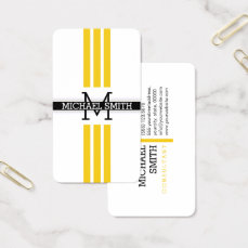 Professional Monogram Modern Jonquil Stripes Business Card