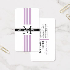 Professional Monogram Modern Lilac Stripes Business Card