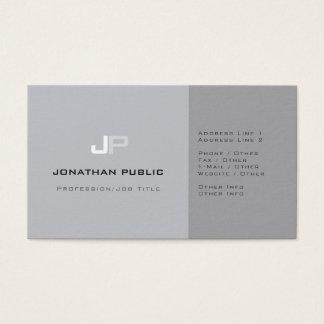 Professional Monogram Plain Elegant Grey Modern Business Card