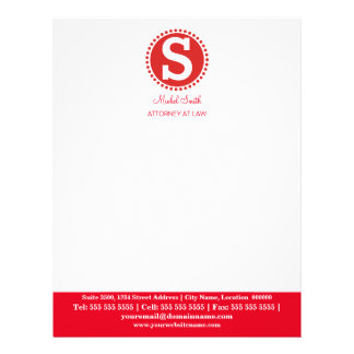 Professional Monogram Red Letterhead