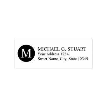 Professional Business Professional Monogram Return Address Rubber Stamp