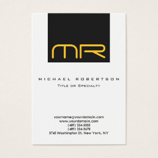 Professional Monogram White Grey Business Card