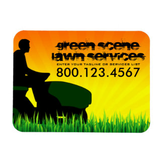 professional mowing lawn care magnet