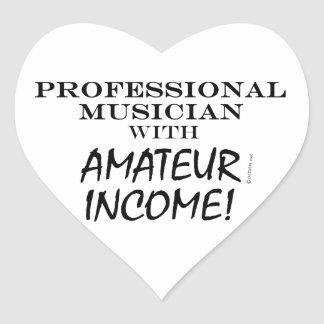 Professional Musician Amateur Income Heart Sticker