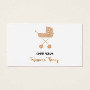 Professional Nanny Rose Gold Baby Carriage Elegant Business Card
