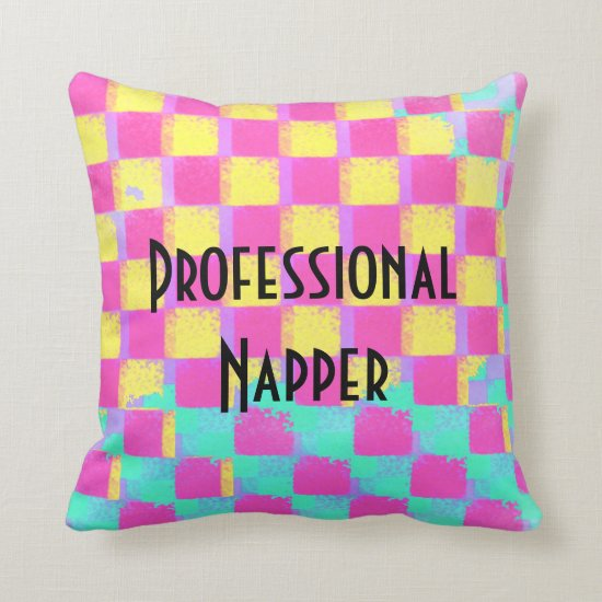 Professional Napper Colorful Checkerboard Pattern Throw Pillow