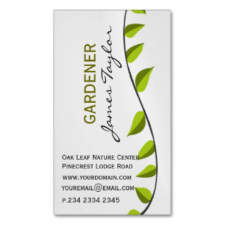 Professional Nature Garden Leaf Gardening Green Business Card Magnet