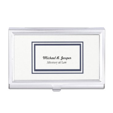 Lawyer Themed Professional Navy Blue and White Attorney Case For Business Cards