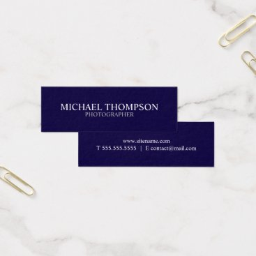 Lawyer Themed Professional Navy Blue and White Mini Business Card
