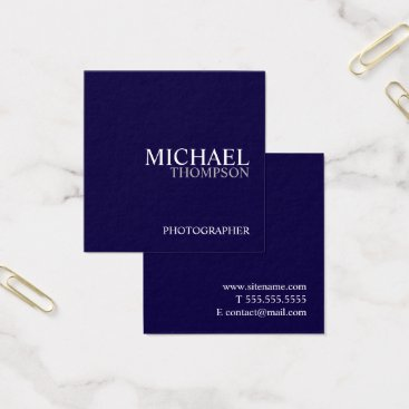 Lawyer Themed Professional Navy Blue and White Square Business Card