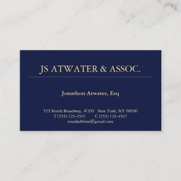 Professional Navy Blue Attorney at Law Business Card