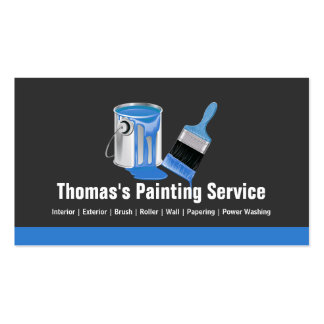 Professional Painting Service - Blue Painter Brush Double-Sided Standard Business Cards (Pack Of 100)
