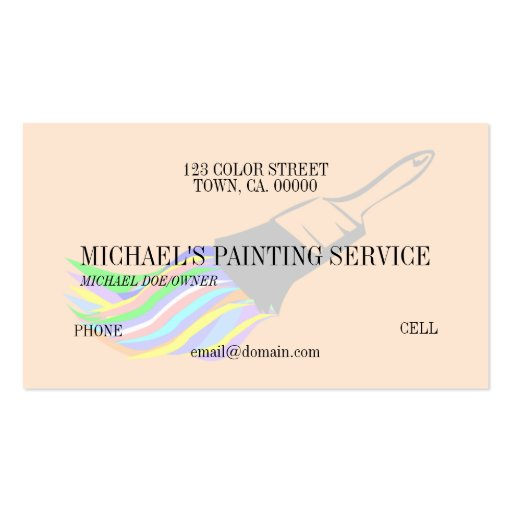 Professional painting service business card zazzle for Professional painter business card
