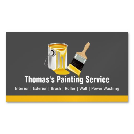 Professional painting service painter paint brush magnetic for Professional painter business card