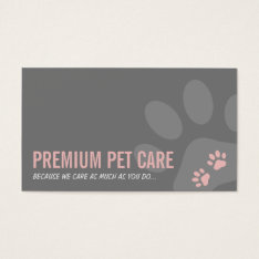 Professional Paw Prints Pet Care Cute Pink Gray Business Card at Zazzle