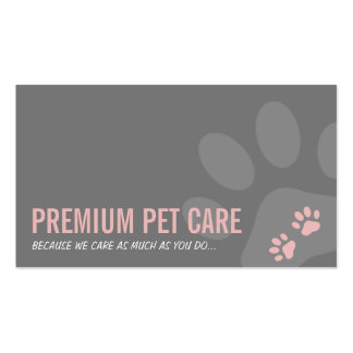 PROFESSIONAL PAW PRINTS pet care cute pink gray Double-Sided Standard Business Cards (Pack Of 100)