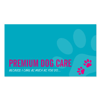PROFESSIONAL PAW PRINTS pet care pink turquoise Double-Sided Standard Business Cards (Pack Of 100)