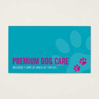 PROFESSIONAL PAW PRINTS pet care pink turquoise Business Card