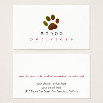 professional pet store . animals business card