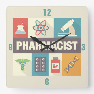 Professional Pharmacist Iconic Designed Square Wall Clock