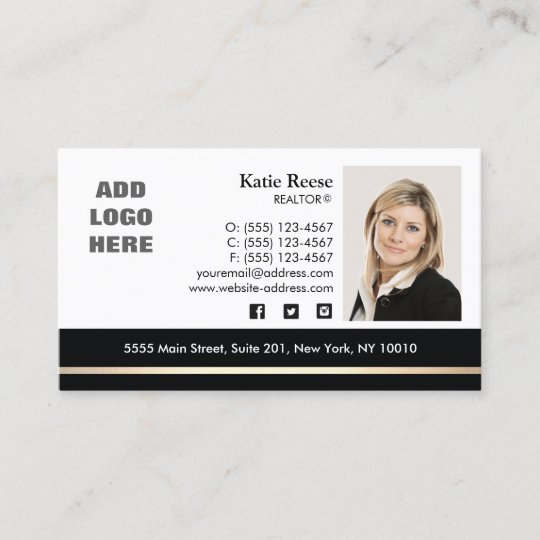 Professional Photo Gold Stripe Real Estate Business Card Zazzle Com