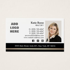 Professional Photo Gold Stripe Real Estate Business Card at Zazzle