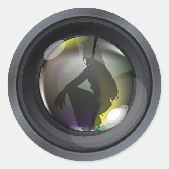 Professional photo lens classic round sticker
