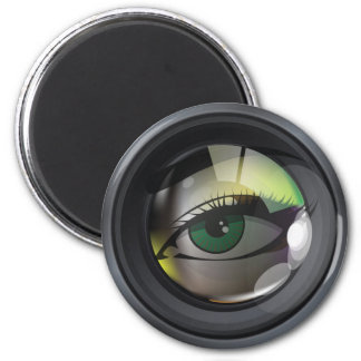 Professional photo lens illustration 2 inch round magnet