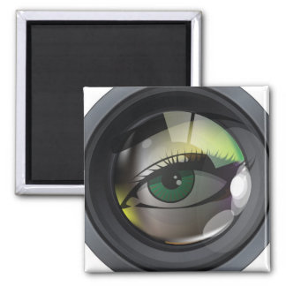 Professional photo lens illustration 2 inch square magnet