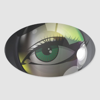Professional photo lens oval sticker