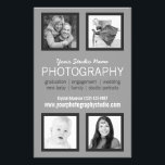"""Professional Photographer Business Handout<br><div class=""""desc"""">Pro portrait photographers can easily create a printed flyer leaflet to handout or post on bulletin boards. Showcase your own favorite snapshots and memorable captures of your past clients from your photographic portfolio in this classy four photo flyer template. Modern, simple style with four square cropped photo frames with thin...</div>"""