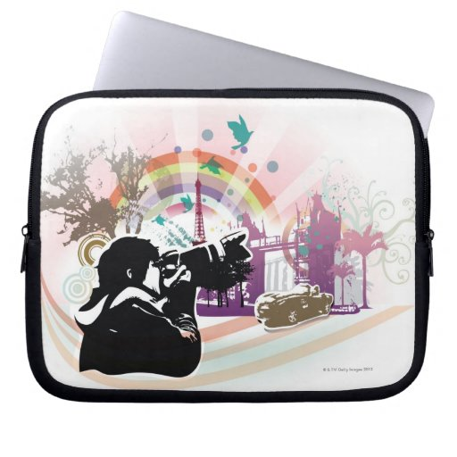 professional photographer shooting urban scene computer sleeve