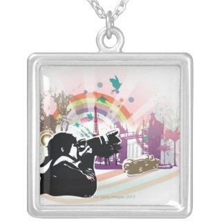 professional photographer shooting urban scene silver plated necklace