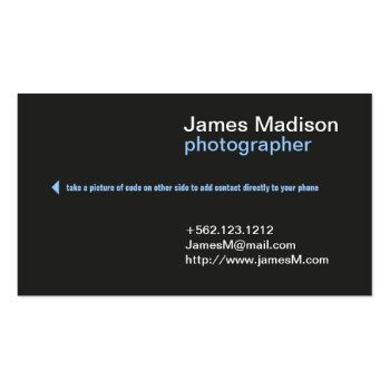 Professional photography business card w qr code just sold on zazzle elegant and professional photographer business cards with qr code to make it ez for your customers to add your info into their phones colourmoves