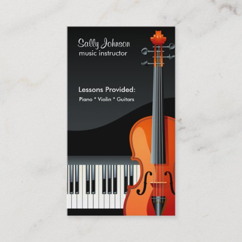 Professional Piano and Violin Music Instructor Business Card