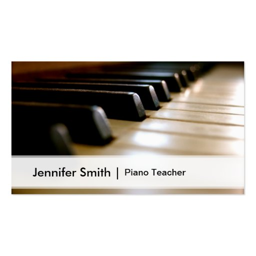 Professional Piano Teacher Elegant Keyboard Image Business Cards