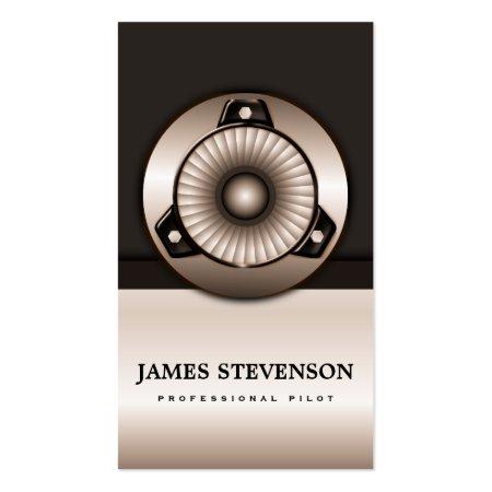 Jet Plane Engine Icon Pilot or Aerospace Engineer Business Cards