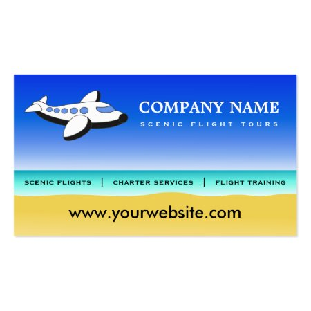 Cartoon Plane Joy Rides or Scenic Flights Professional Pilot Business Cards