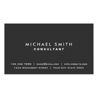 Professional Plain Elegant Black Modern Simple Double-Sided Standard Business Cards (Pack Of 100)