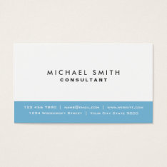 Professional Plain Elegant Modern Blue And White Business Card at Zazzle